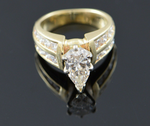 14K Yellow Gold Fancy Engagement Ring with Pear Shaped Center Stone, Size 5