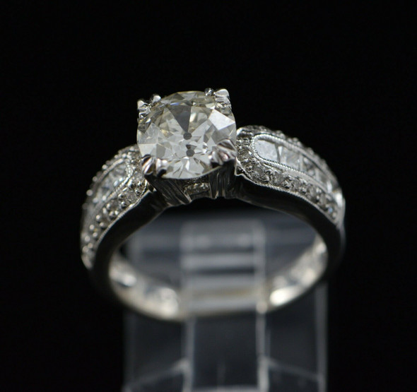 14K White Gold Cushion Cut Engagement Ring Circa 1980, Size 6.5