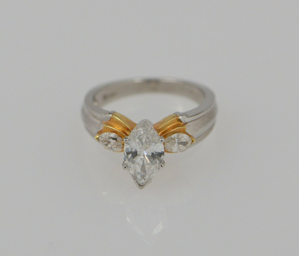 Platinum and Yellow Gold Marquise Diamond Engagement Ring , Size 6.5