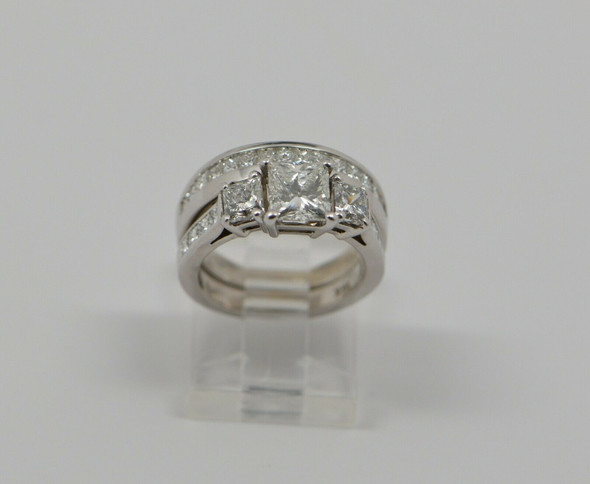 14K White Gold Princess Cut Engagement Ring and Band, Size 5