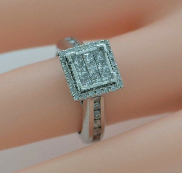 10K White Gold Engagement Ring with Square Halo Top 1ct. tw., Size 5