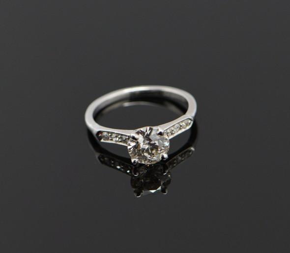 1950's Platinum diamond engagement ring, 1.34 ct center, Mine Cut, Size 6.75