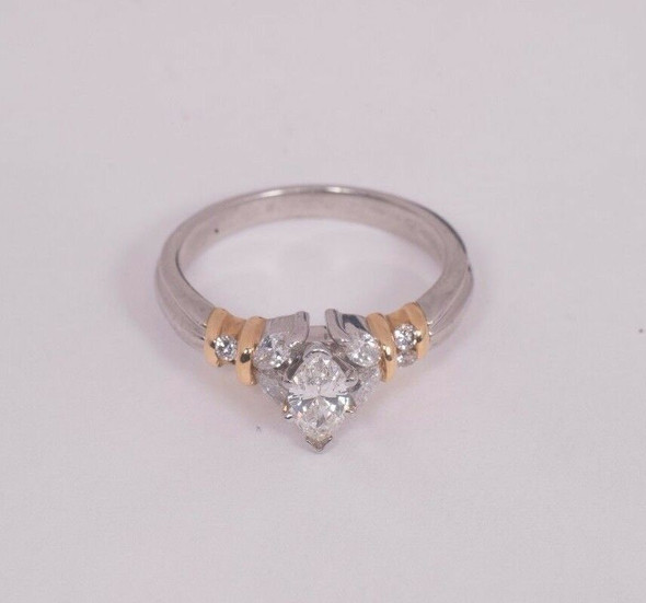 Superb Platinum and 18K Yellow Gold 1 ct. tw. Engagement Ring, size 7.25