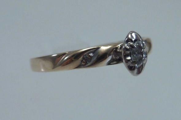 10K Yellow Gold Diamond Engagement Ring, size 8