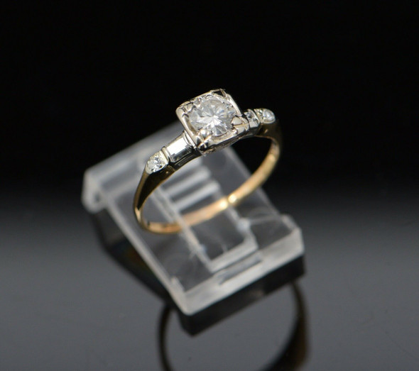 1940's 14K Yellow Gold Diamond Engagement Ring, 3/4 ct, H SI, Size 7