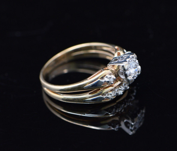 14K Yellow Gold Engagement Ring, 1/4 ct, Circa 1940's, Size 8