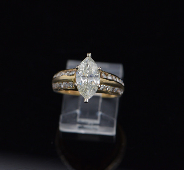 14K Yellow Gold Marquise Diamond Engagement Ring 2 Ct +, Size 6.25
