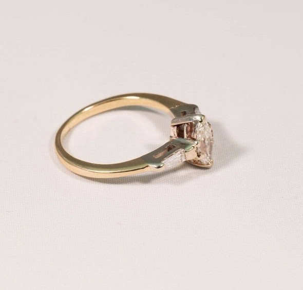 14K Yellow Gold 1950s Lady's Diamond Estate Engagement Ring, Size 6