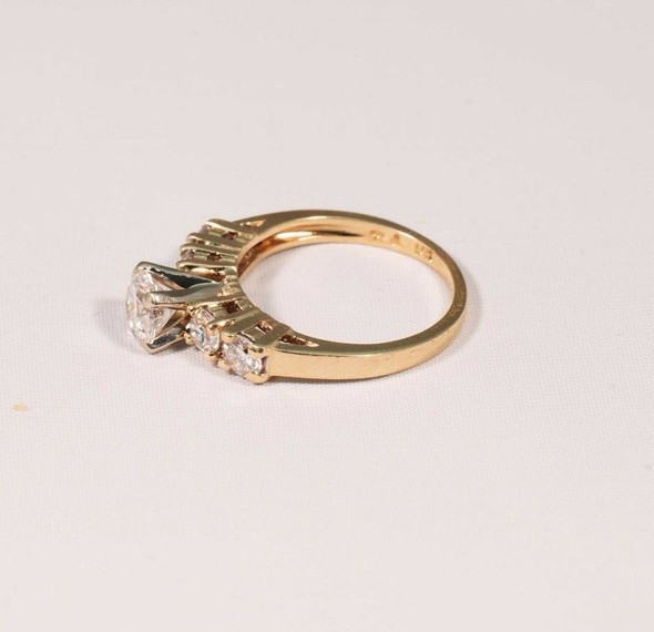 14K Yellow Gold Lady's 5 Stone Diamond Engagement Ring, 1.5ct TW, size 5.75