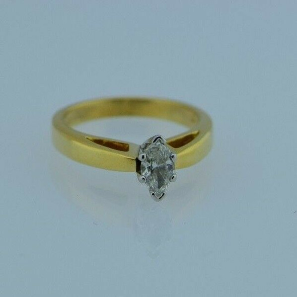18K Yellow Gold w/Platinum Head Marquise Engagement Ring, 3/4 ct., Size 6.5