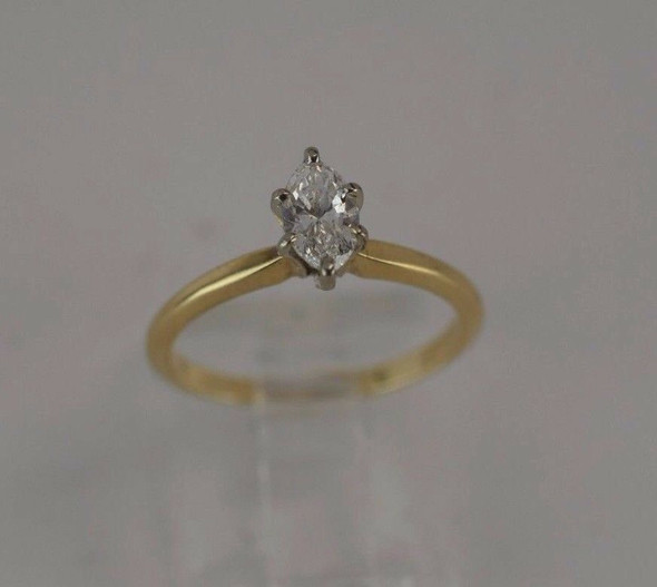 14K Yellow Gold Marquis Diamond Engagement Ring, 1/2ct, size 6.25