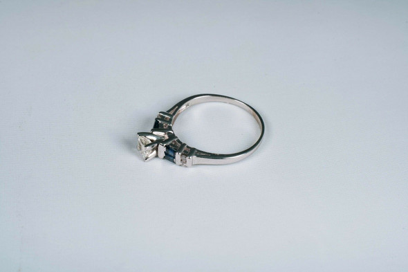 14K White Gold Diamond and Sapphire Engagement Ring app. 1ct. tw. , size 10