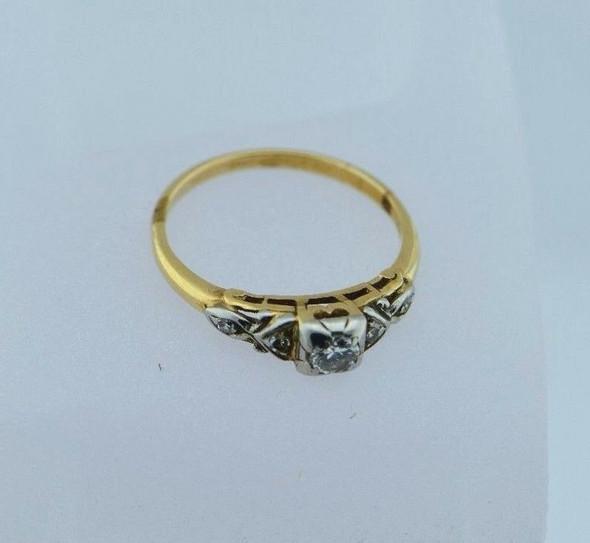14K Yellow Gold Diamond Engagement Ring Circa 1930, size 6.75