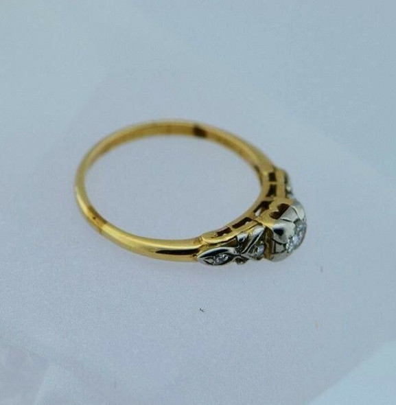 14K Yellow Gold Diamond Engagement Ring Circa 1930, size 6.75