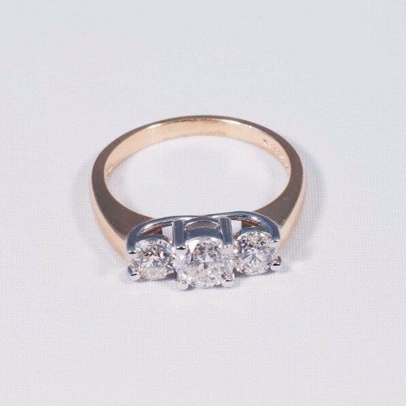 14K Yellow Gold 3 Stone Diamond Engagement Ring w/ Platinum Heads, Size 6.75