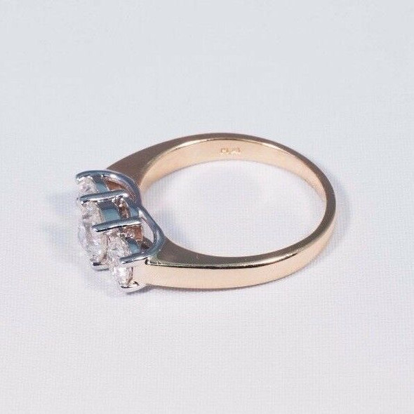 14K Yellow Gold 3 Stone Diamond Engagement Ring w/ Platinum Heads, Size 6.75
