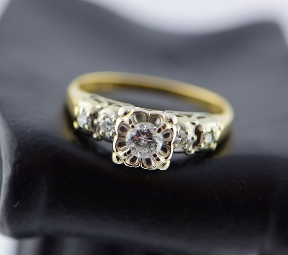 14K Yellow & White Gold Diamond Engagement Ring Circa 1940, size 7.75