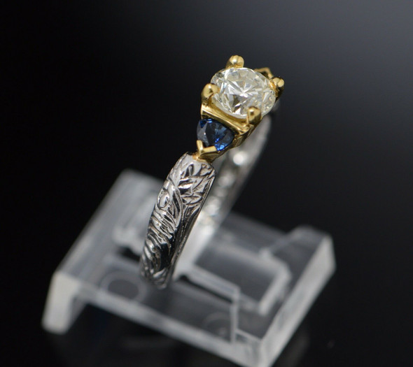 Mixed Metal Diamond Engagement Ring 18K Yellow Gold