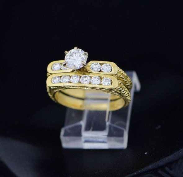 14K Yellow Gold Retro Diamond Engagement & Wedding Set, Size 6.25