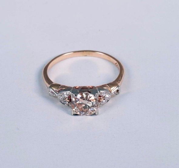 14K Yellow Gold circa 1930 Antique Engagement Ring app. .85 ct. Center, size 5