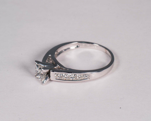 14K White Gold Princess Cut Diamond Engagement Ring, Size 7.5