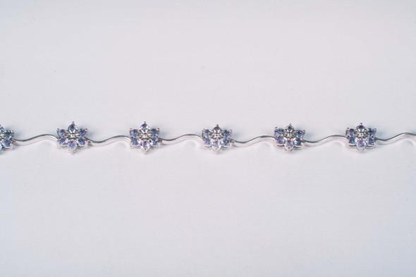 "10K White Gold Tanzanite Bracelet with Floral Design, 6.5"" Long"