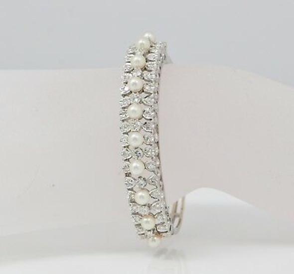 14K White Gold Edwardian Style Diamond and Pearl Hinged Bangle Bracelet
