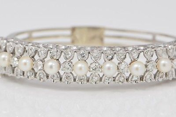 14K White Gold Edwardian Style Diamond and Pearl Hinged Bangle Bracelet
