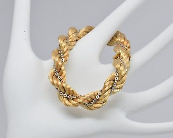 14K Yellow and White Gold Florentine Rope Bracelet