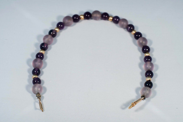 """14K Yellow Gold Amethyst and Gold Bead Bracelet, 6"""" long"""