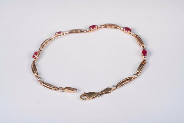 "10K Yellow Gold 1ct.+ Natural Ruby Bracelet, 7"" long"
