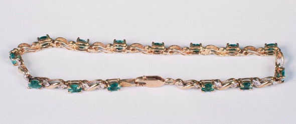 """10K Yellow Gold and Emerald and Diamond Chip Bracelet, 7.25"""""""