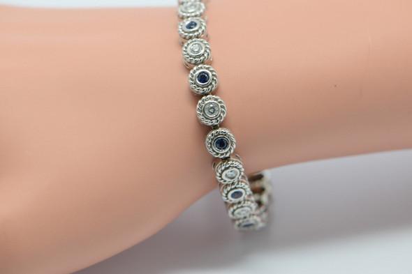 14K White Gold diamond and sapphire bracelet, Circa 1950's, 2 ct tw
