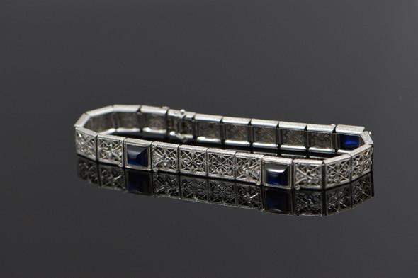 14K White Gold gold filigree sapphire bracelet in Art Deco style