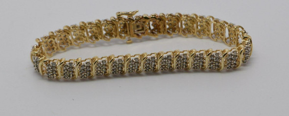 10K Yellow Gold Diamond Bracelet 5+ carat tw diamonds