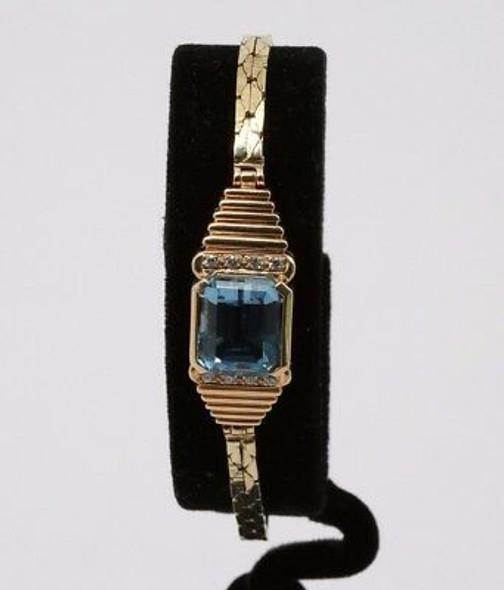 14K Yellow Gold Blue Topaz and Diamond Bracelet