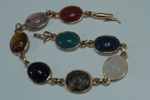 14K Yellow Gold Assorted Colored Stone, 7 inch Bracelet