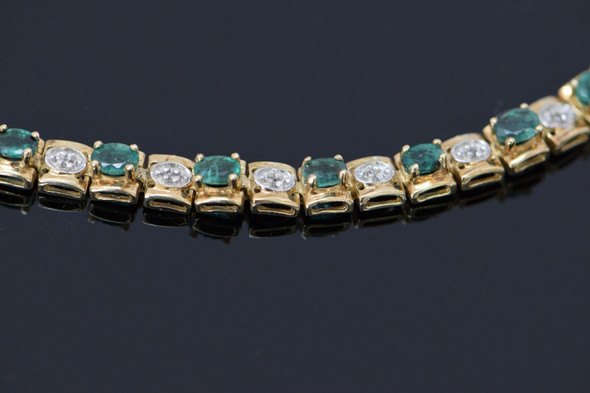 10K Yellow Gold Emerald and Diamond Bracelet