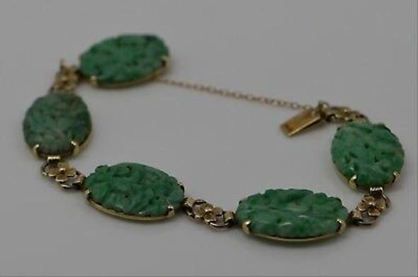 14K Yellow Gold Antique Carved Jadeite Bracelet, Circa 1930