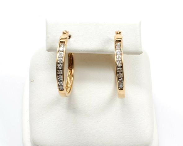 10K Yellow Gold Channel Set Diamond Hoop Earrings, 1/3 ct.tw.
