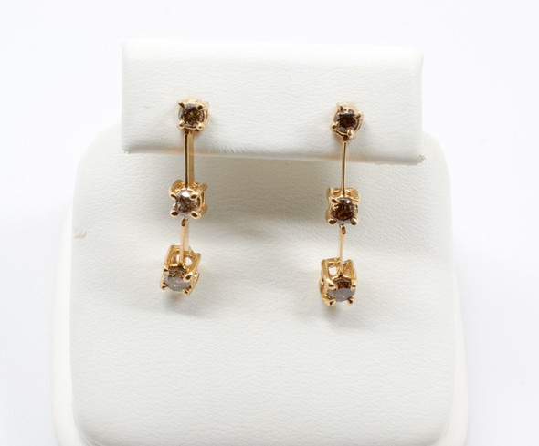 10K Yellow Gold Champagne Diamond Earrings, 0.50 ct.tw.