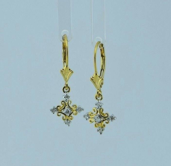 14K Yellow Gold Cross Design Diamond Chip Earrings