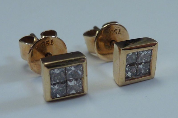 18K Yellow Gold Princess cut Diamond Earrings 1ct. tw.