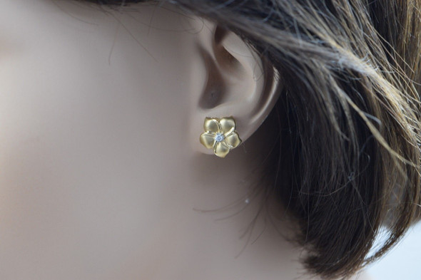 14K Yellow Gold Floral Design Post Earrings with Diamond Center