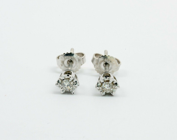14K White Gold Diamond Illusion Mount Stud Earrings app. 1/4 ct. tw. G VS