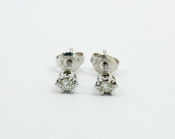 14K White Gold Diamond Illusion Mount Stud Earrings app. 1/4 ct. tw. G VS