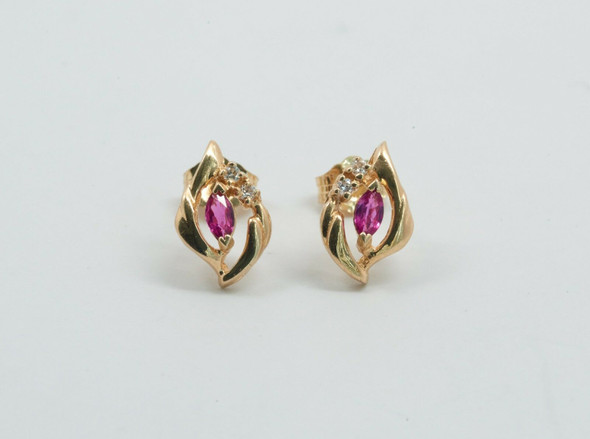 14K Yellow Gold Ruby and Diamond Chip Earrings