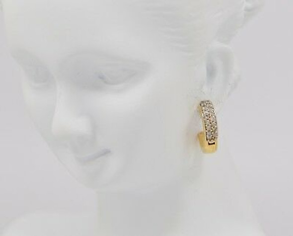 "14K Yellow Gold Diamond Hoop Earrings 1/2"" Diameter"