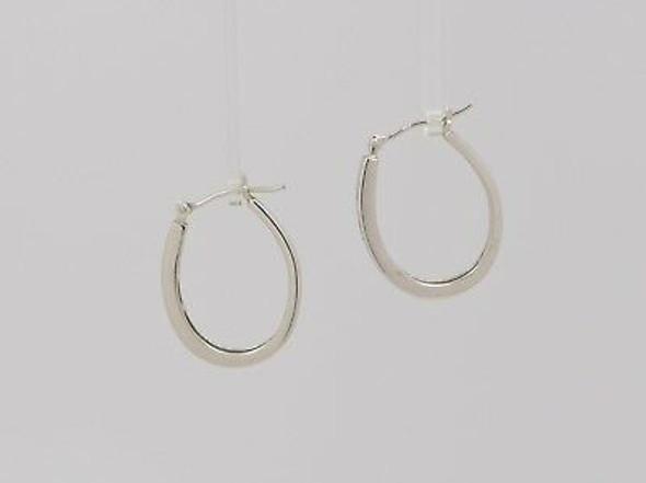 """14K White Gold Diamond Hoop Earrings 7/8"""" Diameter"""