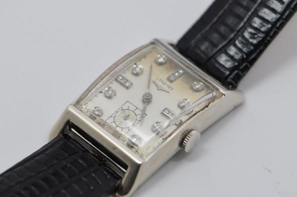 Men's Vintage 14K White Gold Longines Watch with Diamonds, Circa 1950's